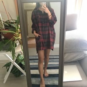 Plaid Flannel Oversized Tunic Dress